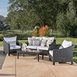 Stonewell Outdoor 4 Piece Black Wicker Chat Set with White Water Resistant Cushions