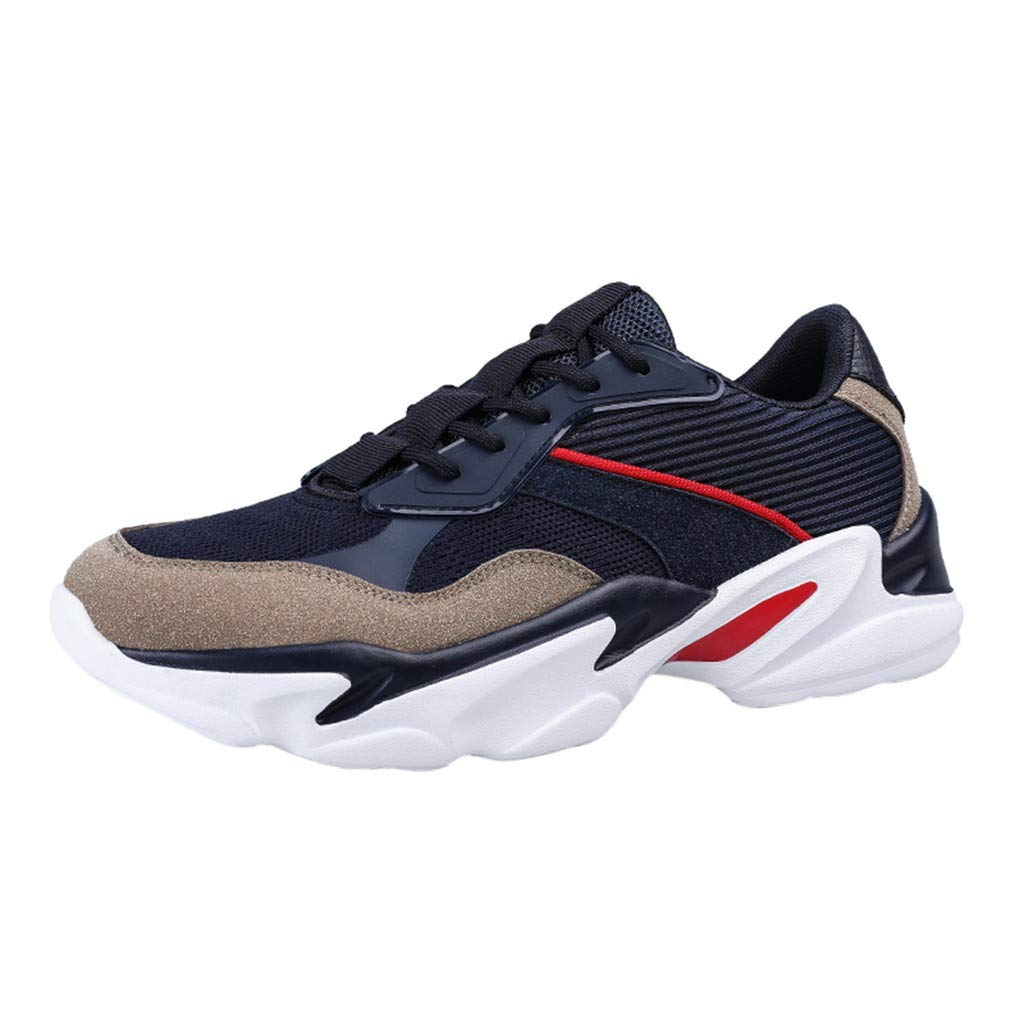 Driuankeji Sneaker for Men Wild Lightweight Running Shoes Fashion Woven Breathable Sneakers Dark Blue