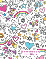 Sketchbook for Girls: Blank Pages, 110 pages, White paper, Sketch, Doodle and Draw