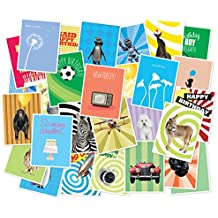 Set of 30 Unique Birthday Cards With Inside Greetings