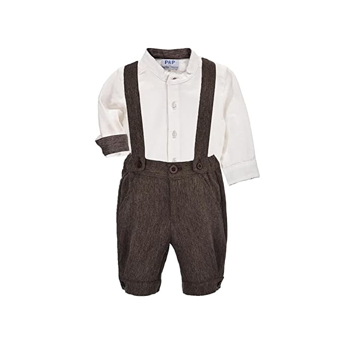 1930s Childrens Fashion: Girls, Boys, Toddler, Baby Costumes Boys Clothing Set - Tweed Shorts w/ Suspenders and Cream Shirt $45.00 AT vintagedancer.com