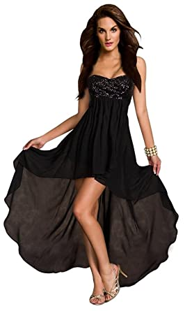 Aimerfeel Womans Bustier Sequinned Dress Short Front And Long