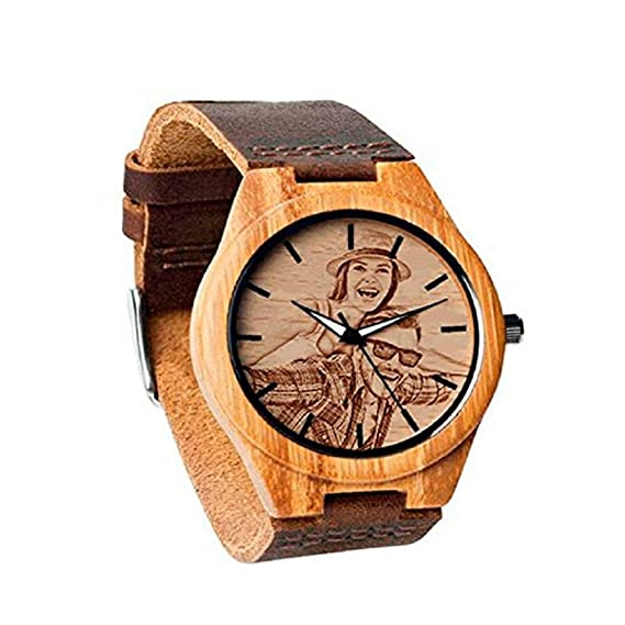 Reloj de Madera Personalizado Personalizado del Presente del día del Padre Agregue Cualquier Foto y Grabe Cualquier Texto: Amazon.es: Relojes