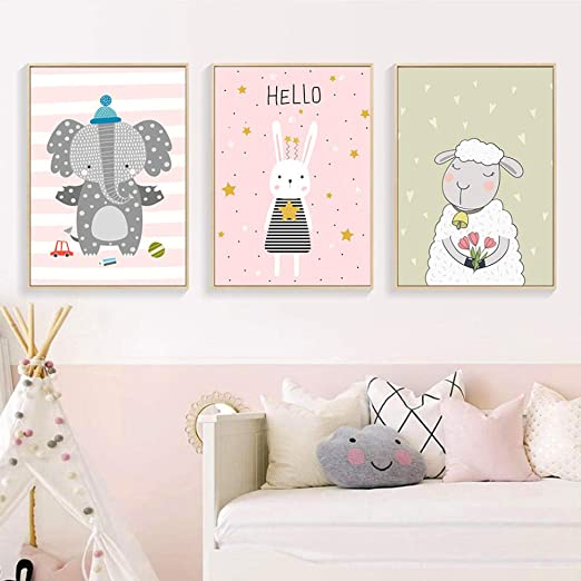 Elephant Canvas Poster Cartoon Nursery Wall Art Print Picture Baby Room Decor