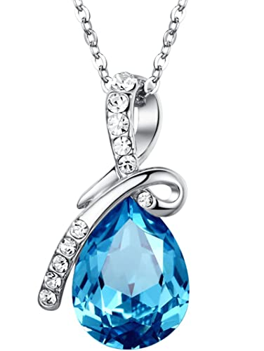 co amazon love blue pendant dp large chain cm uk necklace jewellery crystal teardrop austrian ocean eternal