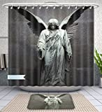 Unique Custom Bathroom 2-Piece Set Sculptures Decor Collection Sculpture Of An Angel With Dark Background Catholic Belief Century Old Artwor Shower Curtains And Bath Mats Set, 60''Wx72''H & 23''Wx16''H