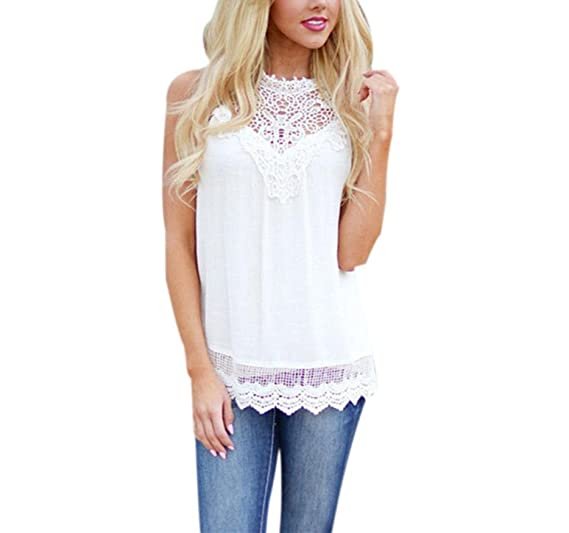 Bsgsh Women Lace Crochet Scalloped Hem Blouse Vest Tank Top Summer