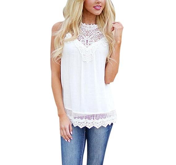 887b8f7ff92415 BSGSH Women Lace Crochet Scalloped Hem Blouse Vest Tank Top Summer  Sleeveless Tops Plus Size (