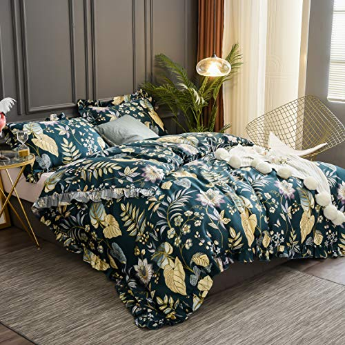 Softta California King Bedding Floral Shabby and Elegant Ruffle Duvet Cover 3Pcs Tropical Plam Leaves Duvet Covers Set Teal Purple Yellow Colorful 100% Egyptian Cotton 800 TC Hidden Zipper Closure