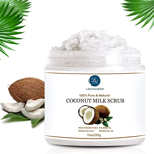 Leche de Coco Scrub Exfoliante Corporal y Facial Scrub para limpieza profunda, exfoliación, Pore Minimizer 10oz: Amazon.es: Belleza