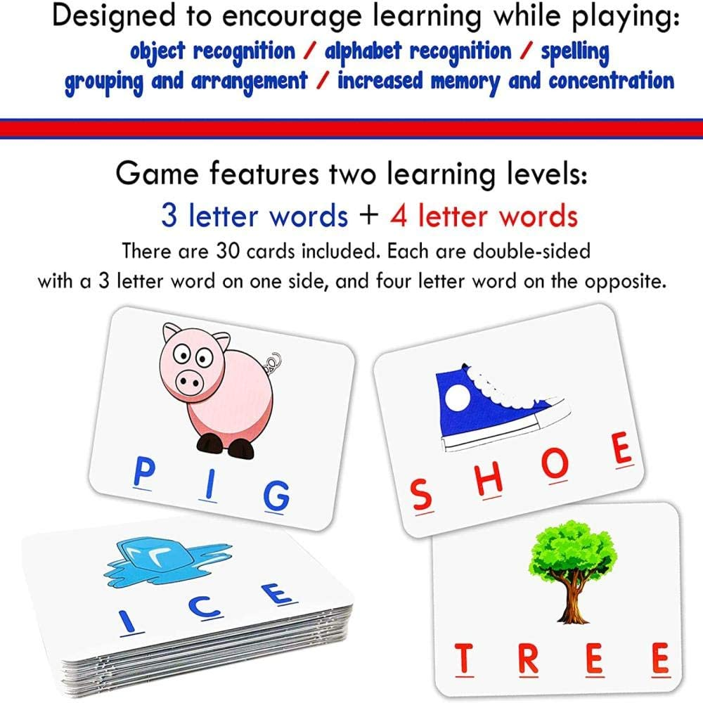 Spelling for 3-8 Year Olds Boys Girls Memory Game Spelling Games ZZYYFC Matching Letter Games for Kids,Age 3-8 Educational Toys,Word Recognition Best Gifts