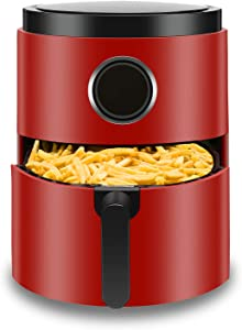 Antarctic Star 5.2 Quart Air Fryer Hot Deep Fryer Free Chip Digital Touch Screen 7 Presets, Auto Shutoff Nonstick Basket with Cookbook Oilless Cooker Roasting/Baking 1400W,RED
