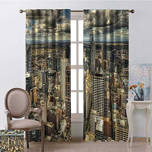 GUUVOR Urban Heat Insulation Curtain Melbourne Cityscape Modern Australia Architecture Buildings Metropolis Dramatic Sky for Living Room or Bedroom W52 x L54 Inch Multicolor (Bamboo Furniture Australia Outdoor)