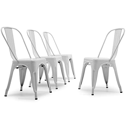 Awe Inspiring Belleze Set Of 4 Vintage Style Dining Chairs Steel High Back Chairs Side Stool White Home Remodeling Inspirations Basidirectenergyitoicom