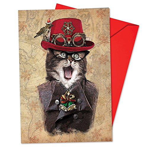 12 'Steampunk Cats Red Hat' Boxed Christmas Cards with Envelopes 4.63 x 6.75 inch, Victorian Kitten Christmas Cards, Vintage Cat Portrait in Dandy Attire Cards, Feline Gentleman Cards B6554CXSG