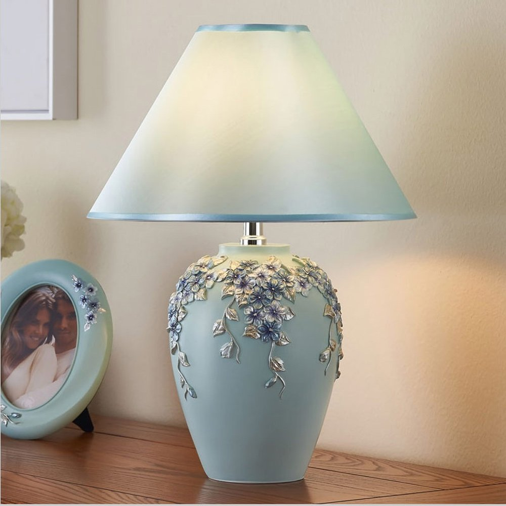 MILUCE The new European-style wedding gift warm decorative flower happiness table lamp Bedroom bedside table lamp ( Color : Light Blue ) by MILUCE