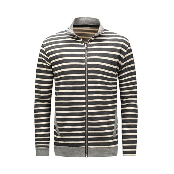 Pullover Herren Lange Ärmel Männer Baumwolle Tops Unterhemd Streifen Weiß