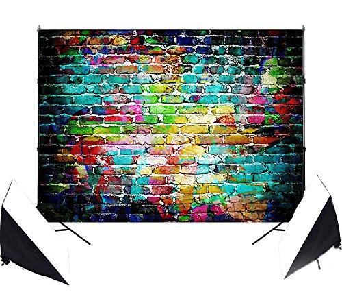 DODOING 7x5ft Colorful Brick Wall Photography Backdrop Studio Prop Graffiti Wall Children Photo Background 2.1x1.5m