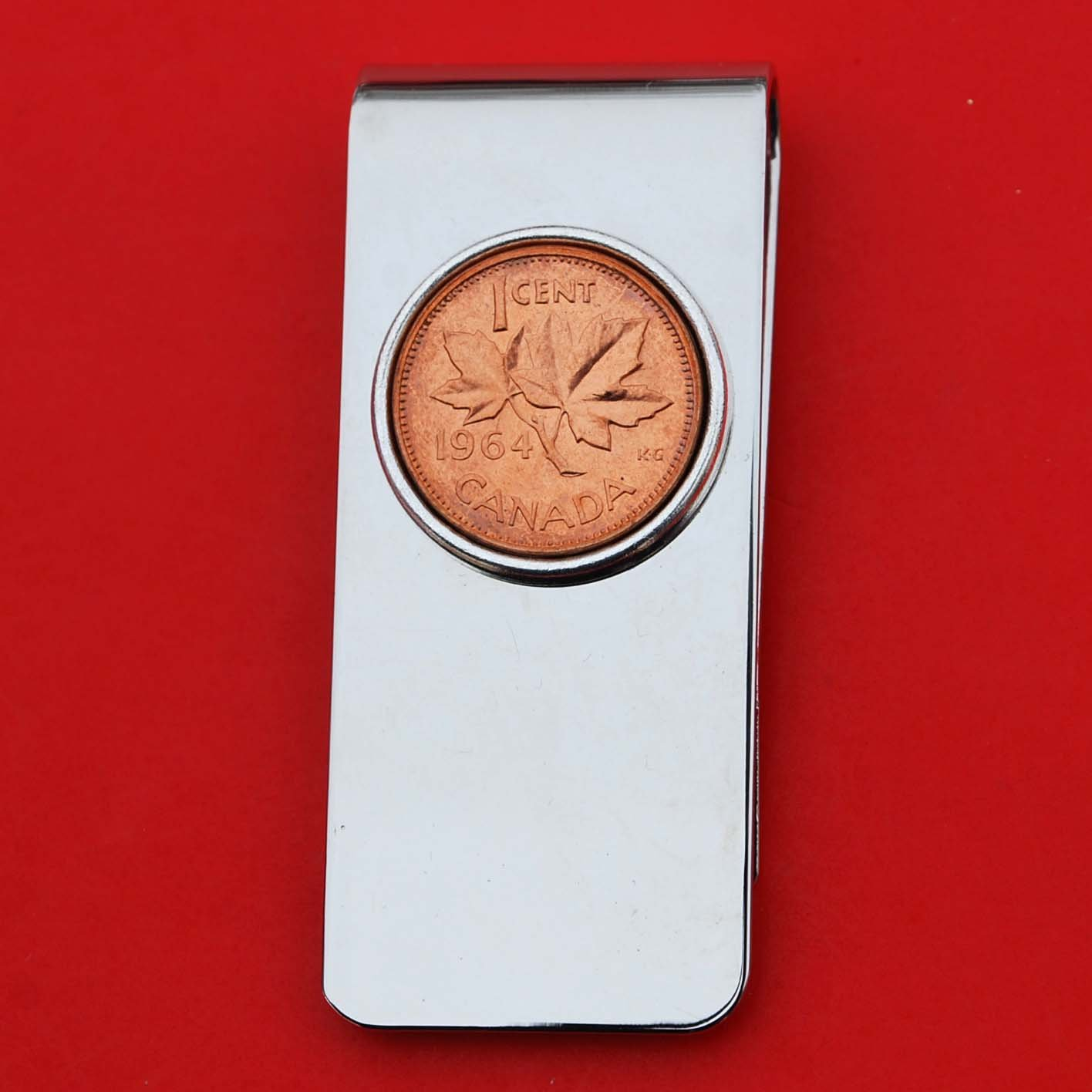 1964 Canada 1 Cent BU Uncirculated Coin Solid Brass Silver Money Clip New - Maple Leaf
