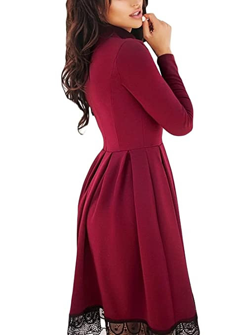688d834e09 LOSRLY Women High Neck Long Sleeve Pleated Lace Hem Skater Midi Dress-Burgundy  S 4 6 at Amazon Women s Clothing store