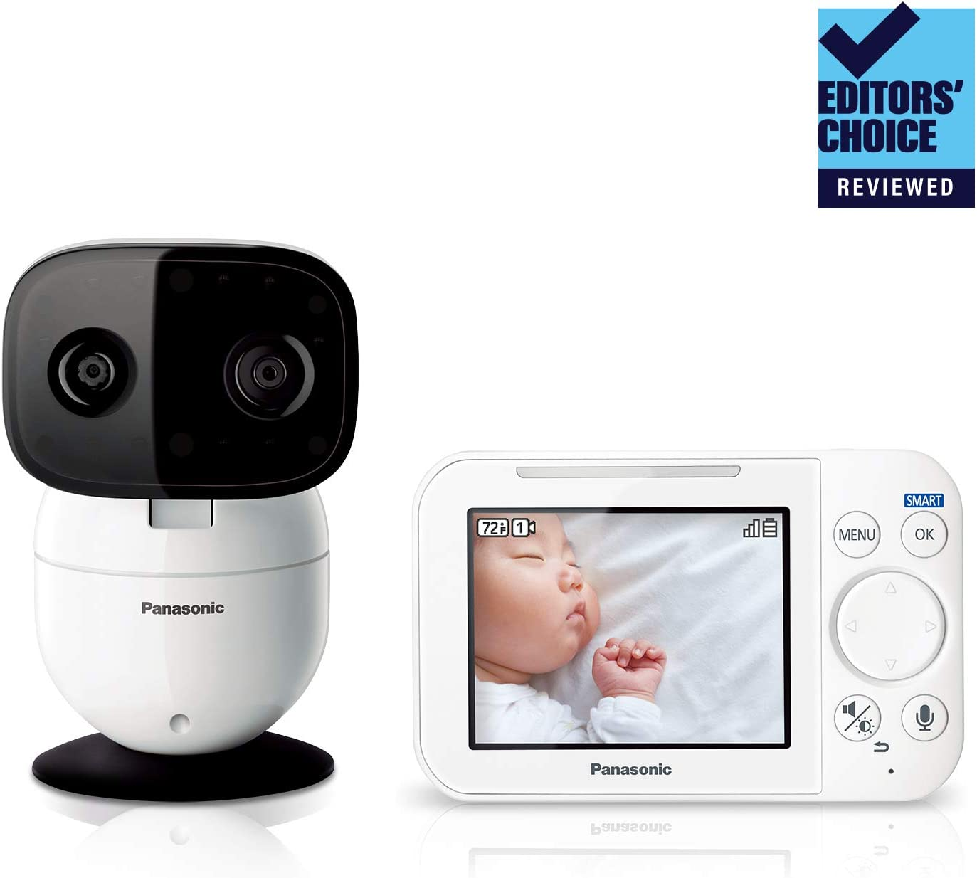 Panasonic Video Baby Monitor with Remote Pan Tilt Zoom, Extra Long Audio Video Range, 2 Way Talk Lullaby or Noises – 1 Camera KX-HN4101W White Updated 2019 Version