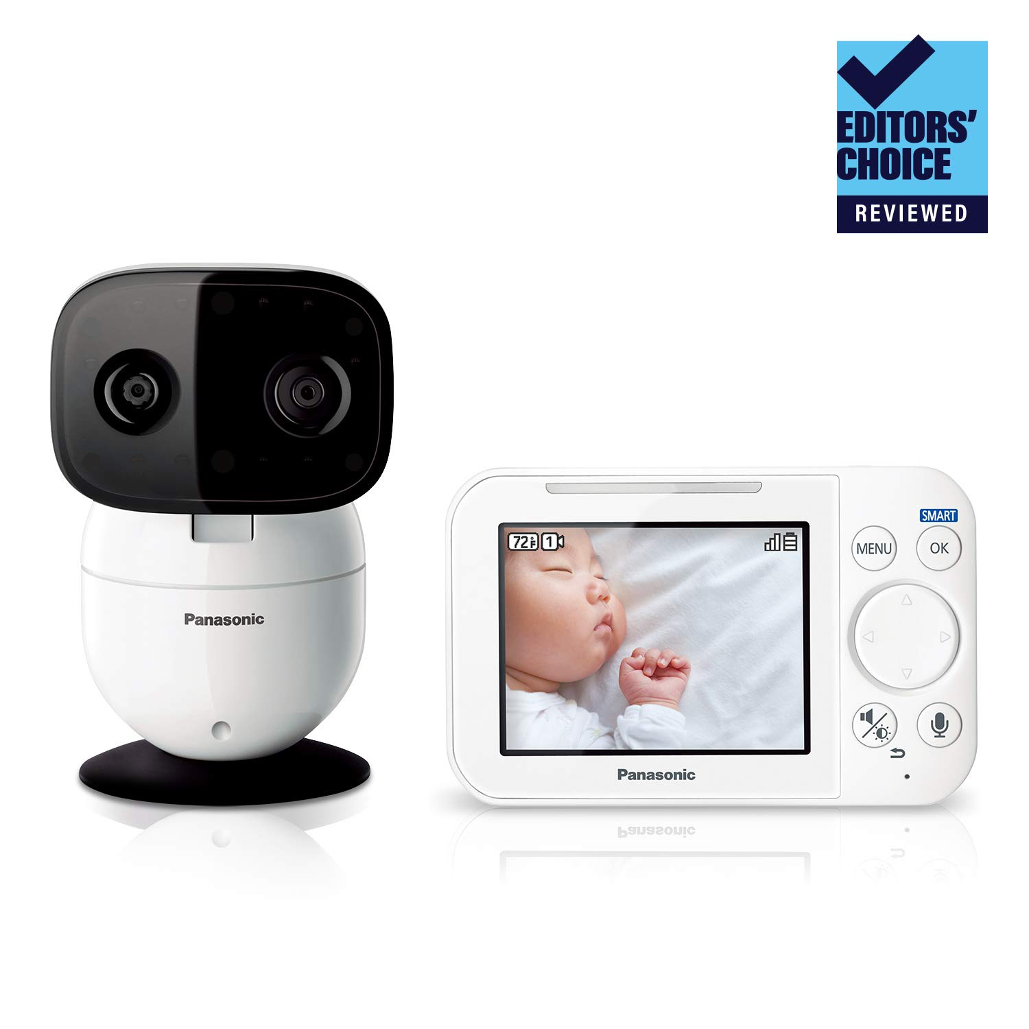Panasonic Video Baby Monitor with Remote Pan/Tilt/Zoom, Extra Long Audio/Video Range, 2 Way Talk and Lullaby or White Noises - 1 Camera KX-HN4101W (White) Updated 2019 Version