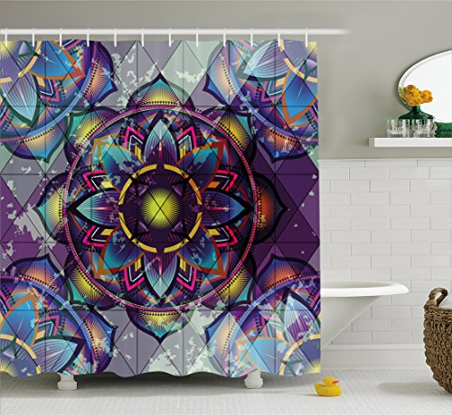 Ambesonne Lotus Shower Curtain, Psychedelic Surreal Sacred Geometry