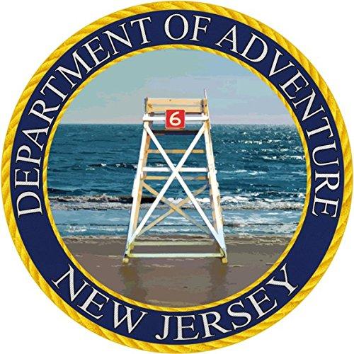 New Jersey Sticker, Department of Adventure State Seal NJ Shore Lifeguard Beach Chair - Vinyl Decal Label for Water Bottle Laptop Luggage Bike Laptop Tacklebox 5 Gal Bucket Bumper Helmet Waterproof