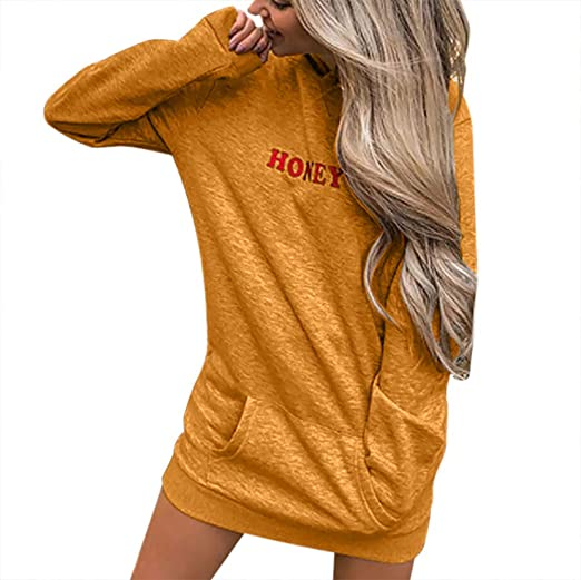bce38484bd Amazon.com  Dimanul✿Womens Long Sleeve Hoodie Solid Patchwork Casual Long  Hooded Sweatershirt Dress T Shirt Pullover  Clothing