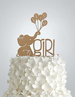 Cute Its A Girl Wood Cake Topper, Elephant Baby Shower
