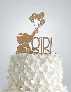 Amazoncom Its A Girl Elephant Cake Topper Cute Cake Topper