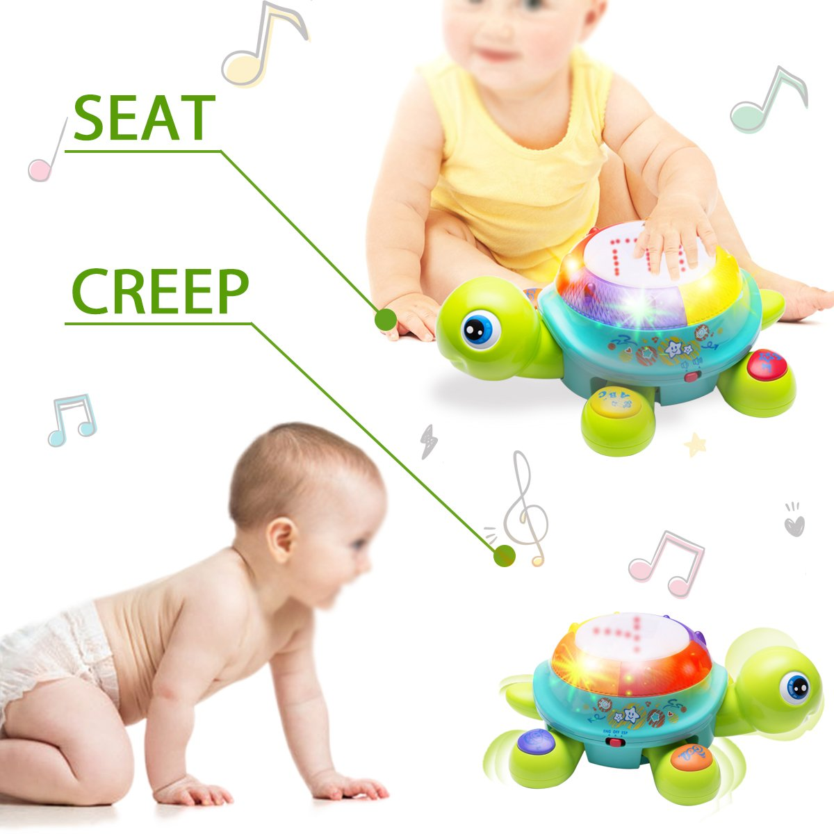 Musical Turtle Toy, English Spanish Learning, Electronic ...