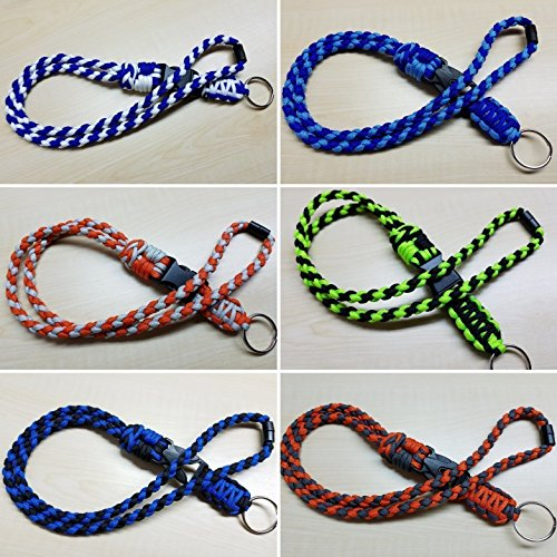 (ID badge paracord lanyard with neck breakaway, buckle & keyring - Choose your colors - name tag - keychain - USA Handmade)
