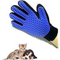 True Touch Pet Brush Glove Dog Cat Gentle Efficient Grooming pet hair glove for animals Glove for combing cats (ONE PAIR) (Blue)