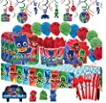 Amscan PJ Masks MEGA Deluxe Birthday Party Pack for 16 with Plates, Napkins, Cups, Cutlery, Tablecover, Candles, Hanging Swirl Decorations, and Balloons