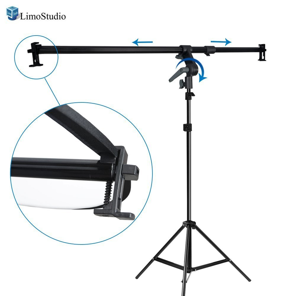 LimoStudio 26-48 inch Swivel Head Reflector Arm Support Holder Photo Light Stand Tripod, Easy Spring Clip Install, Mount on The Light Stand Tripod, Photo Studio, AGG2057V2