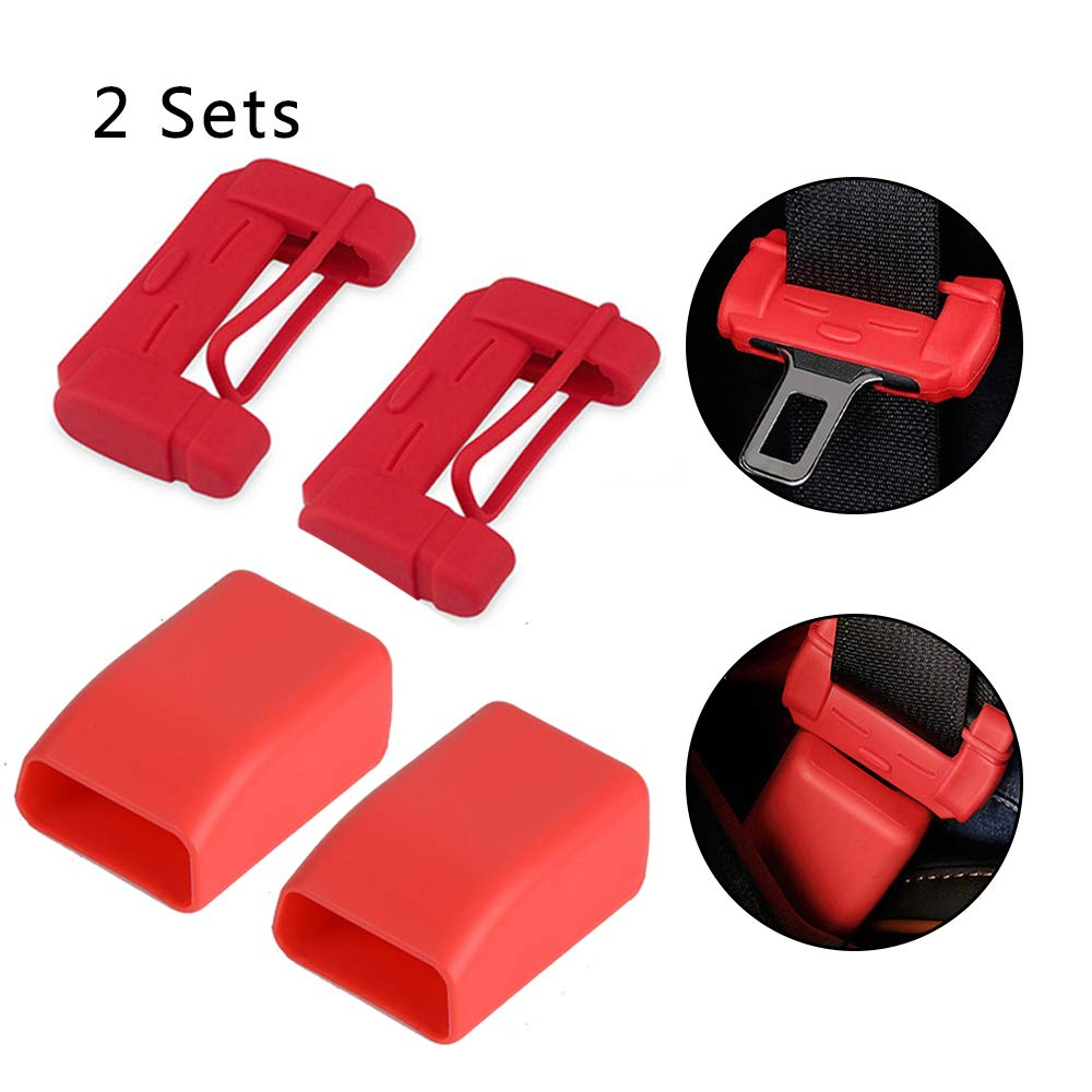 Car Seat Belt Buckle Covers Universal 2 Sets Red Seat Belt Buckle Protector for Car Safety Durable Silica Gel Anti-Scratch Protective Sleeve