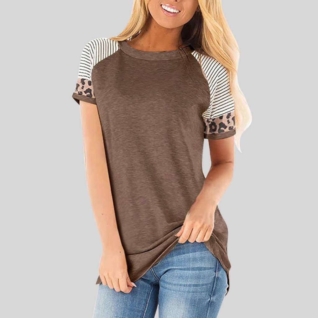 Womens Leopard Print Color Block Tunic Pullover O Neck Short Sleeve Shirts Striped Casual Blouses Tops