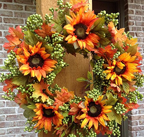 Flora Decor Autumn Green Apple Sunflower Wreath -24