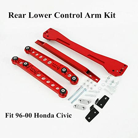 For 1996-2000 Honda Civic Rear Lower Tie Bar Subframe Brace EK LX DX EX SI RED