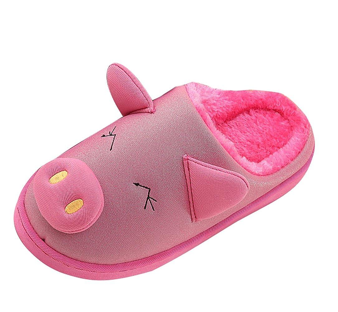 Liveinu Kids Cartoon Piggy Indoor Warm Fleece House Slippers Fuzzy Plush Mules Home Bedroom Floor Slip-On Shoes