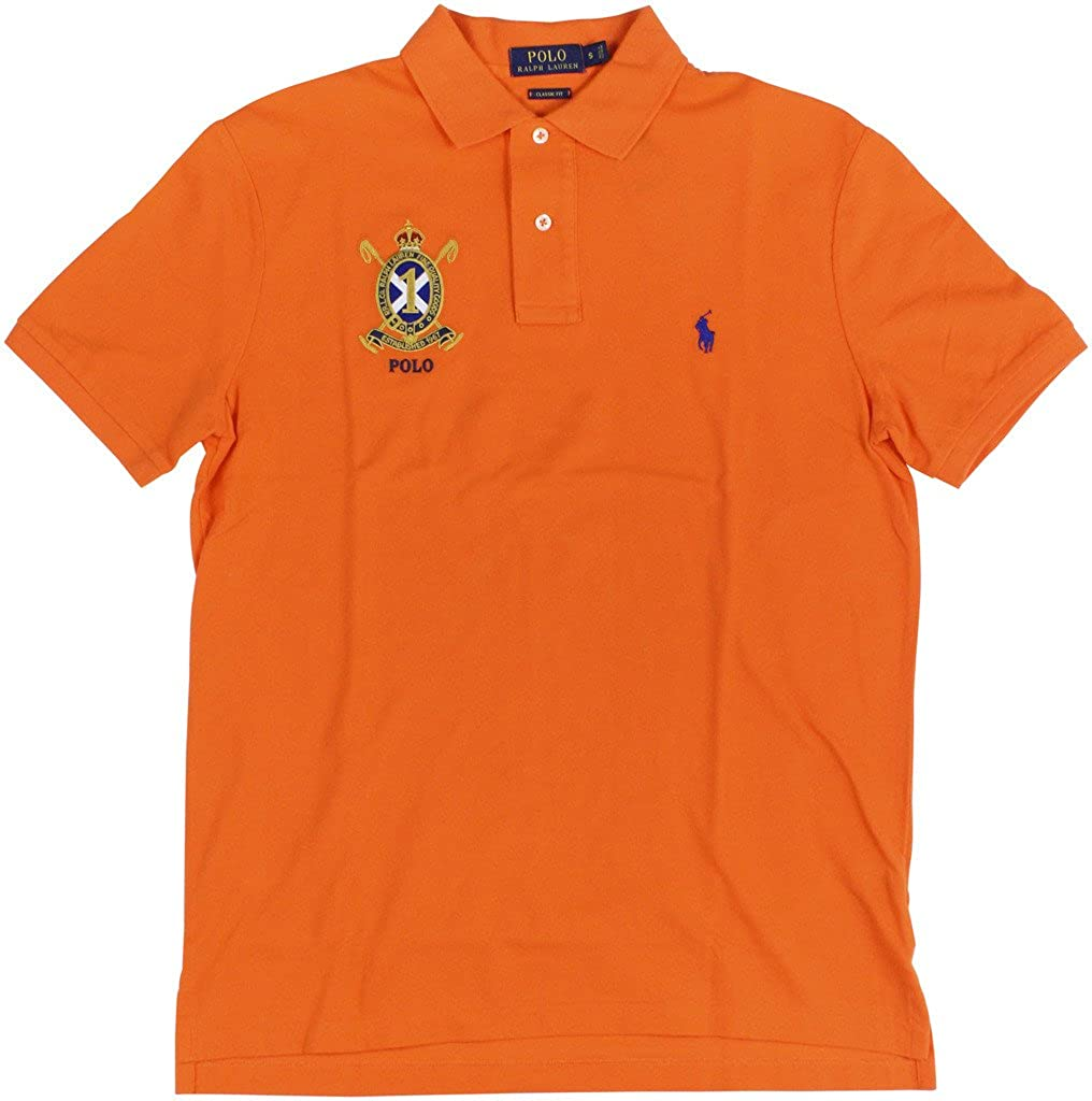 Polo Ralph Lauren Mens Classic Fit Mesh Crest Logo Polo Shirt
