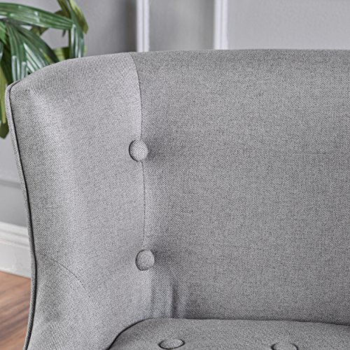 Aria   Occasional Chair   Wing Back   Nail Head Accents   Button Tufted   Corded   Fabric in Grey