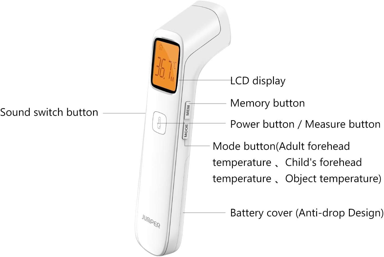 F/ür Kleinkinder Erinnerung an die Uhrzeit Hochtemperaturalarm JUMPER Ber/ührungsloses Stirnthermometer 1 Sekunden Messung Infrarot-Digitalthermometer mit Genauer Ablesung Kinder und Erwachsene
