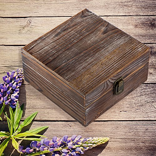 (HABOM Rustic Essential Oil Wooden Storage Box - with 25 Slots for 5, 10, 15ml Bottles, Essential Oils Wooden Case Perfect for Display & Presentation (Farmhouse Brown))