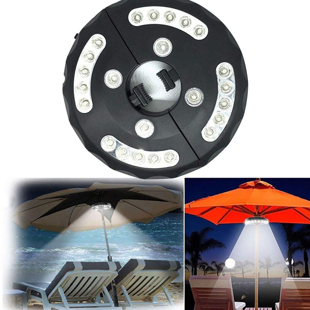 Outdoor Patio Tent Led Umbrella Light, 24 High-Brightness Beads, Unique Design. Use 4 X AA Battery,Black by LSSLSS