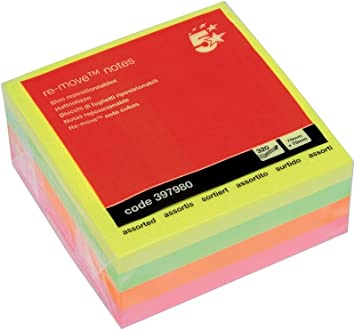 5 Star Office Re-Move Sticky Notes Repositionable 100 Sheets 76x76mm