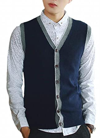 Pujingge Men Slim Fit Classic Open Front Button Cardigan Sweater