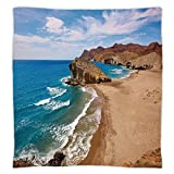 iPrint Super Soft Throw Blanket Custom Design Cozy Fleece Blanket,Landscape,Ocean View Tranquil Beach Cabo De Gata Spain Coastal Photo Scenic Summer Scenery,Blue Brown,Perfect for Couch Sofa or Bed