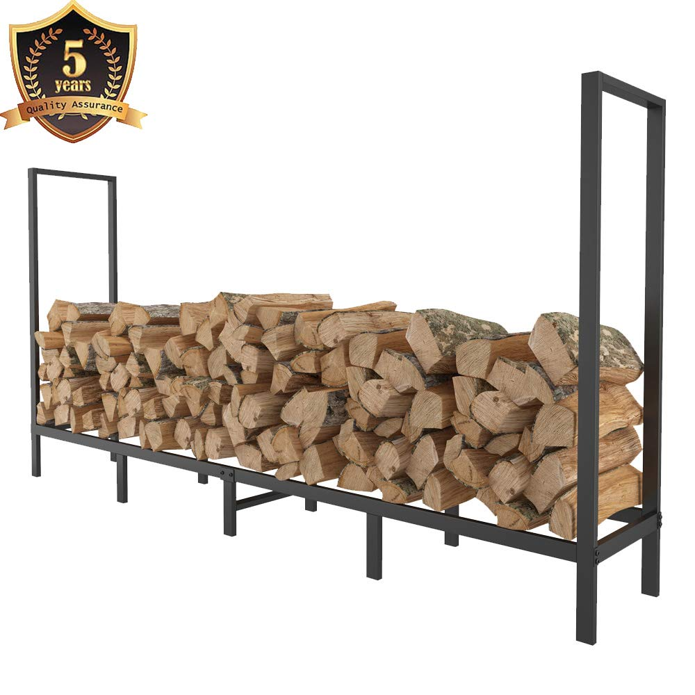 FOYUEE Firewood Rack Outdoor 8Ft Log Holder for Fireplace Indoor Fire Wood Storage Holding Stand Heavy Duty by FOYUEE